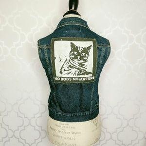 Roxy Jean Denim Vest Jacket No Dogs No Masters Cat